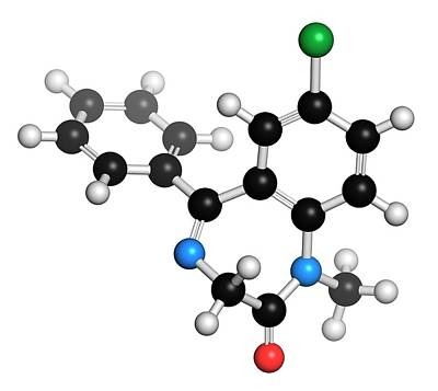 Chemical Photograph - Diazepam Benzodiazepine Drug Molecule by Molekuul