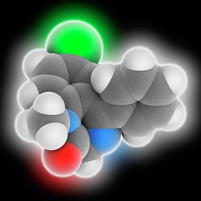 Diazepam Drug Molecule Art Print by Laguna Design
