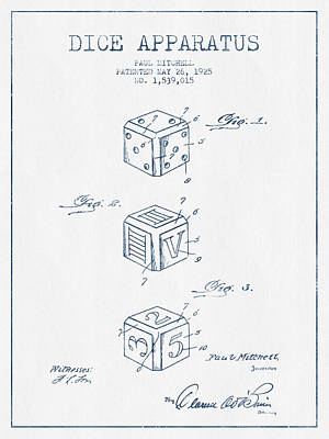 Gaming Digital Art - Dice Apparatus Patent From 1925 - Blue Ink by Aged Pixel
