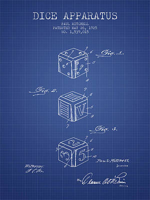 Toys Digital Art - Dice Apparatus Patent From 1925 - Blueprint by Aged Pixel