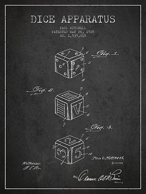 Gaming Digital Art - Dice Apparatus Patent From 1925 - Dark by Aged Pixel