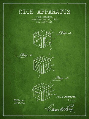 Gaming Digital Art - Dice Apparatus Patent From 1925 - Green by Aged Pixel