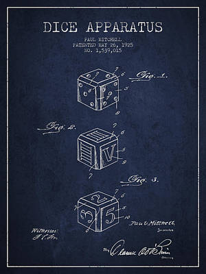 Casino Digital Art - Dice Apparatus Patent From 1925 - Navy Blue by Aged Pixel