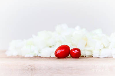 Photograph - Diced White Onion With Red Chillis by Silken Photography