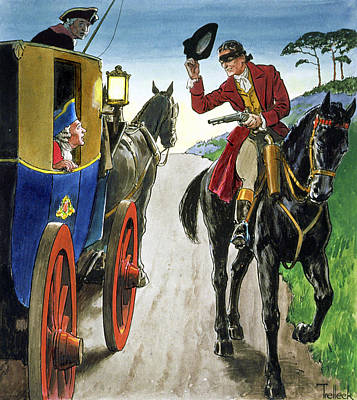 Highwaymen Drawing - Dick Turpin From Peeps Into The Past by Trelleek