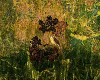 Digital Art - Dickcissel Abstract by J Larry Walker