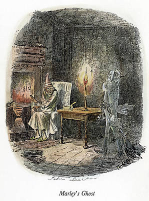Winter Night Drawing - Dickens Christmas Carol, 1843 by Granger