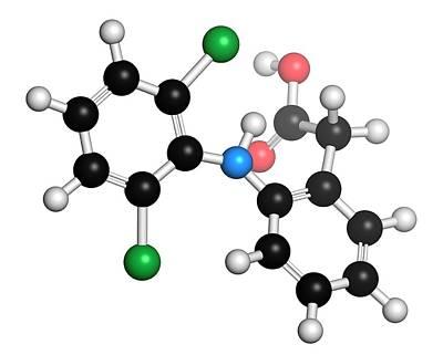 Diclofenac Anti-inflammatory Drug Molecul Art Print by Molekuul