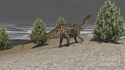 Prehistoric Digital Art - Dicraeosaurus Walking Amongst Pine by Kostyantyn Ivanyshen
