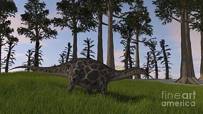 Digital Art - Dicraeosaurus Walking Through A Field by Kostyantyn Ivanyshen