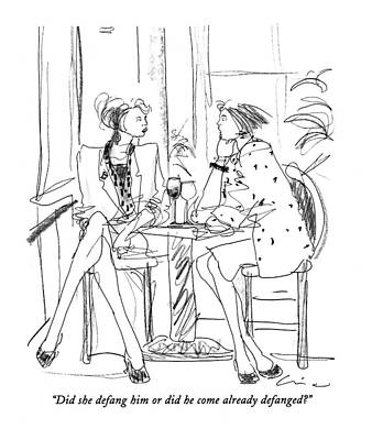 Table Wine Drawing - Did She Defang Him Or Did He Come by Richard Cline