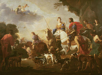 Dido And Aeneas Hunting Oil On Canvas Art Print by Jan van Bike Miel