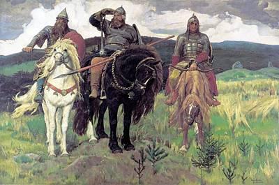 Die Drei Bogatyr By Viktor M Vasnetsov Art Print