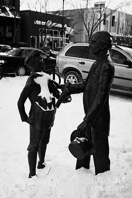 diefenbaker and laurier statue corner Saskatoon Saskatchewan Canada Art Print by Joe Fox