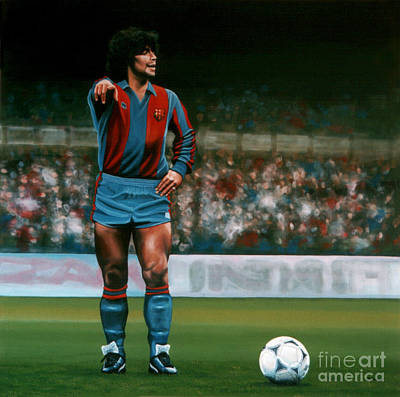 Coaching Painting - Diego Maradona by Paul Meijering