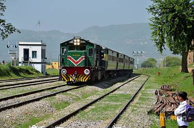 Art Print featuring the photograph Diesel Electric Locomotive Speeds Past Student by Imran Ahmed