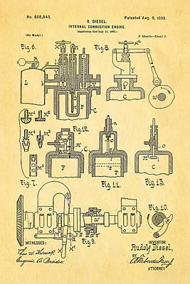 Combustion Photograph - Diesel Internal Combustion Engine Patent Art 1898 by Ian Monk