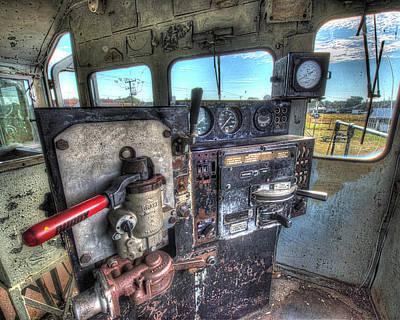 7 Train Photograph - Diesel Locomotive Cab by Greg Hager