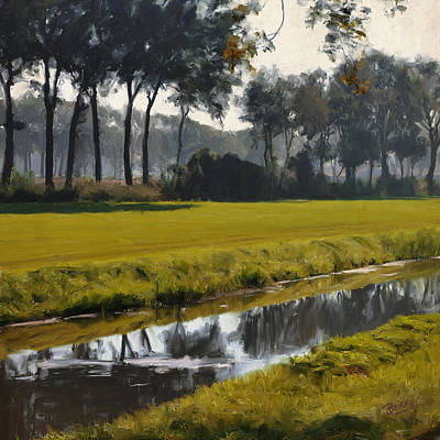 River Painting - Diessen Baarschot River Landscape by Nop Briex