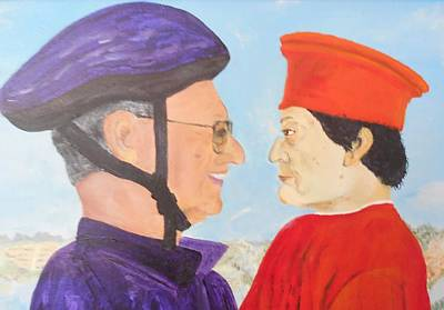 Two Bicycles Painting - Different Hats by Bruce Combs - REACH BEYOND