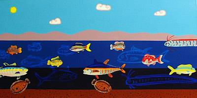Flounder Painting - Different Types Of Fish by Wendy Bridges