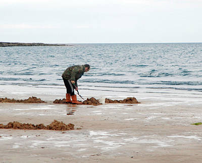 Marine One Photograph - Digging On A Beach by Public Health England