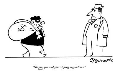 Robbers Drawing - Digibuy A Robber With A $ Bag Speaks To A Police by Charles Barsotti