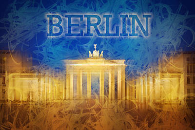 Abstract Skyline Photos - Digital-Art Brandenburg Gate II by Melanie Viola