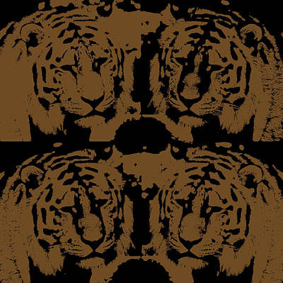 Digital Art Four Tigers Print by Tommytechno Sweden
