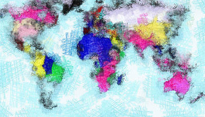 Digital Art Map Of The World Art Print