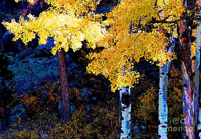 Digital Aspen Art Print by Linda Cox