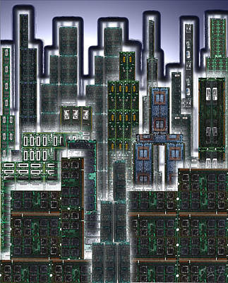 Digital Circuit Board Cityscape 3d - Glow Print by Luis Fournier