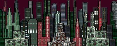 Digital Circuit Board Cityscape 5b - Wine Sky Art Print by Luis Fournier