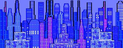 Digital Circuit Board Cityscape 5c - Blue Haze Art Print by Luis Fournier