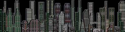 Digital Circuit Board Cityscape 5d - Blacktops Art Print by Luis Fournier