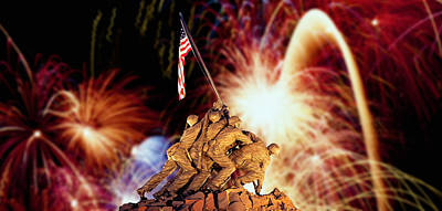 Us Marine Corps Photograph - Digital Composite, Fireworks Highlight by Panoramic Images