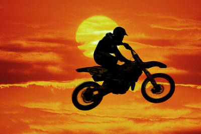 Digital Composite Of Motocross Racer Art Print by Jaynes Gallery