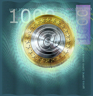Digital Euro Currency Art Print by Smetek