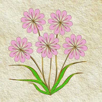 Digital Flowers #6 Art Print by Pat Follett