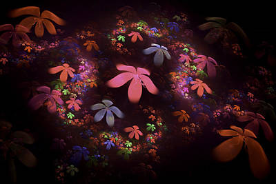 Digital Fractalpsychedelic Flower Image Modern Fractal Art  Art Print
