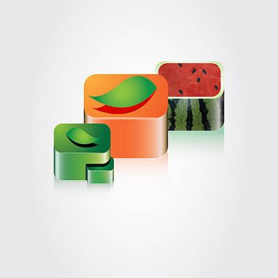 Digital Fruits Art Print by Ali ArtDesign