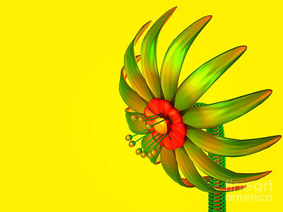 Curated Beach Towels - Digital Glass Flower by Jan Brons