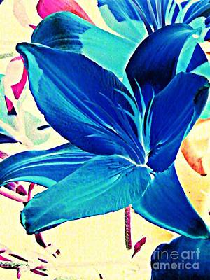 Photograph - Digital Lily In Blue by Sarah Loft