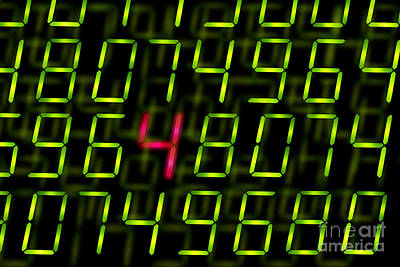 Matrix Code Photograph - Digital Numbers With One Highlighted by Simon Bratt Photography LRPS