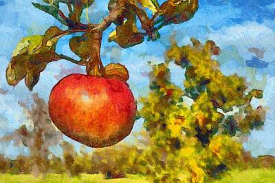 Digital Painting - Red Apple On Branch Of Tree Art Print by Matthias Hauser