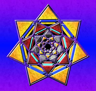 Digital Art - Digital Septagram Wormhole by Derek Gedney