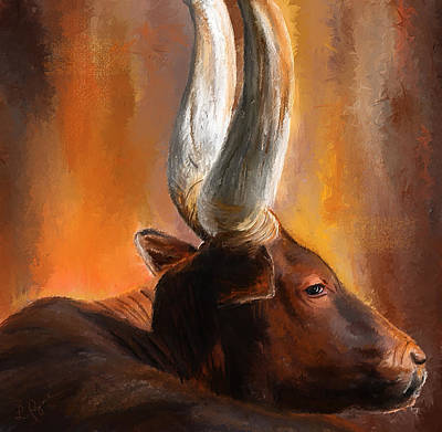 Dignified Pose- Texas Longhorn Paintings Art Print by Lourry Legarde