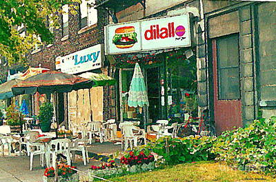 Painting - Dilallo Burger Diner Paintings Originalclassic Vintage Burger Joint St Henri St Catherine Cityscene  by Carole Spandau