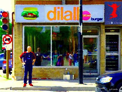 Dilallos Hamburger Restaurant Painting - Dilallo Burger Notre Dame Ouest And Charlevoix  Montreal Art Urban Street Scenes Carole Spandau by Carole Spandau