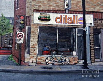 Montreal Restaurants Painting - Dilallo Notre-dame Ouest  by Reb Frost